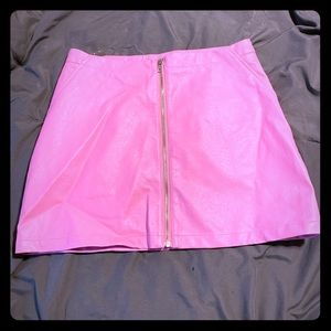 Hot pink faux leather mini skirt